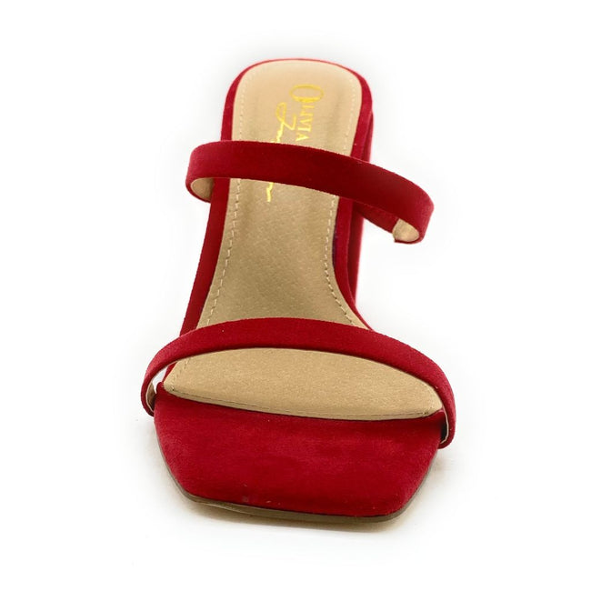 Olivia Jaymes Juicy Red Suede Color Heels Shoes for Women