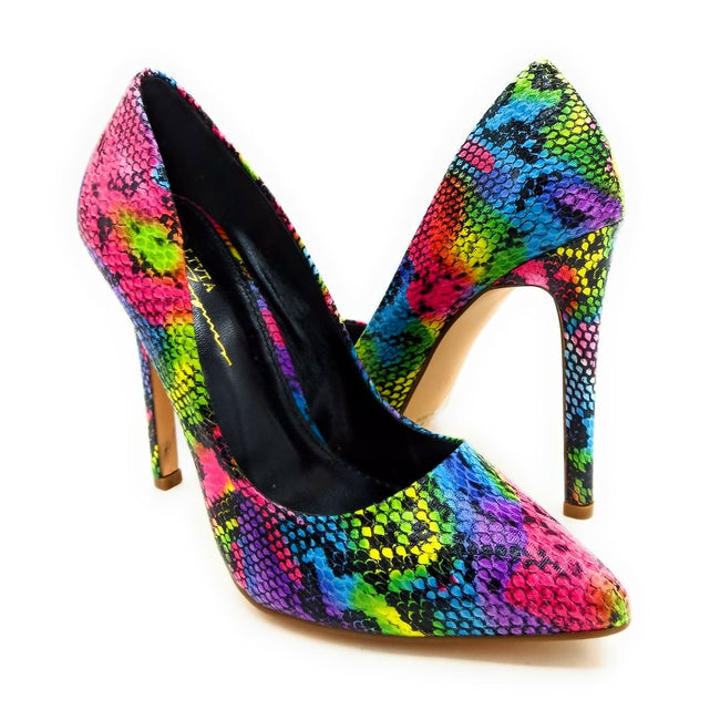Olivia Jaymes Kim Multi Snake Fabric Color Heels Shoes for Women