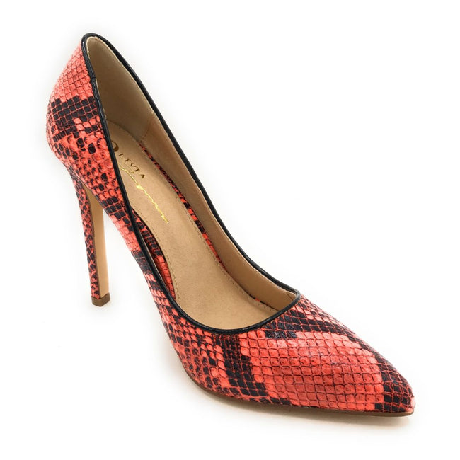 Olivia Jaymes Kim Orange Snake Color Heels Shoes for Women