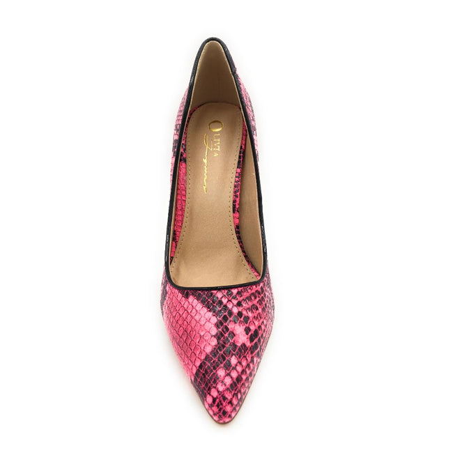 Olivia Jaymes Kim Pink Snake Color Heels Shoes for Women