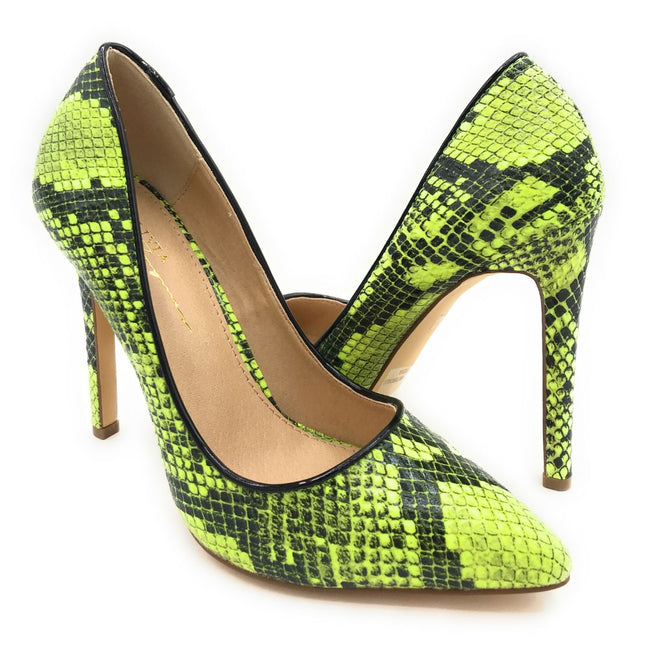 Olivia Jaymes Kim Yellow Snake Color Heels Shoes for Women