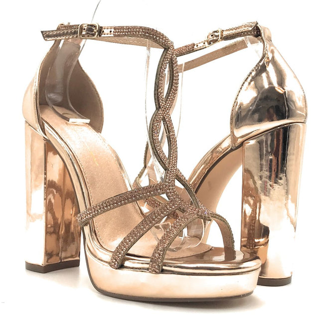 Olivia Jaymes Lavish Rose Gold Pattent PU Color Heels Shoes for Women