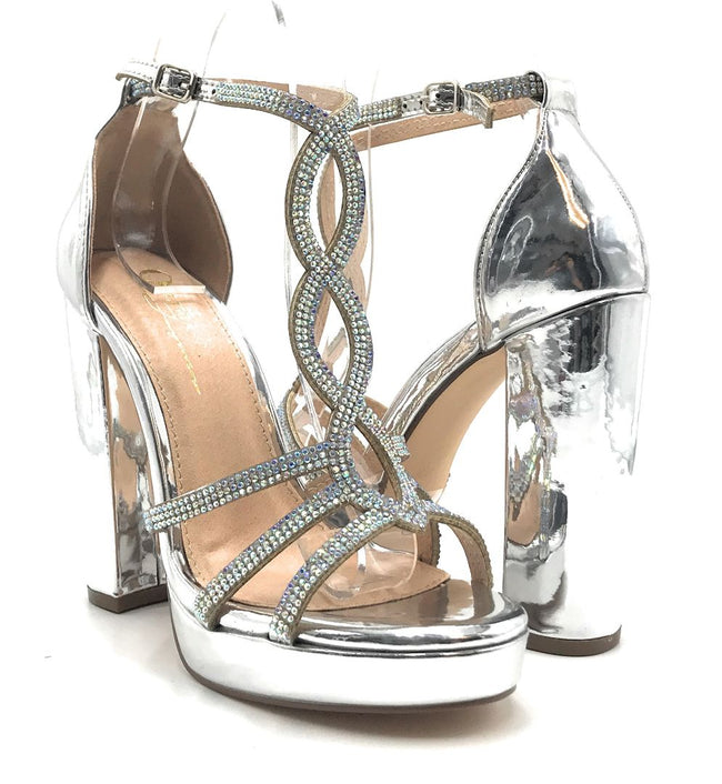 Olivia Jaymes Lavish Silver Patent PU Color Heels Shoes for Women