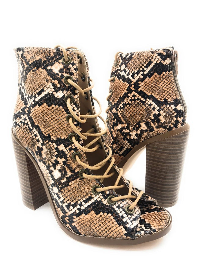 Olivia Jaymes Lilly Brown Snake Color Heels Shoes for Women