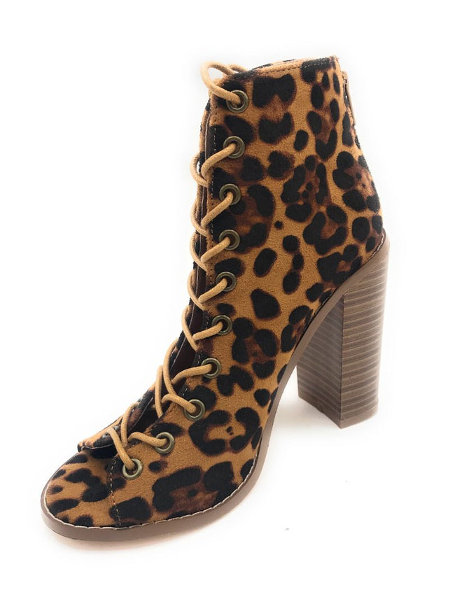 Olivia Jaymes Lilly Leopard Suede Color Heels Shoes for Women