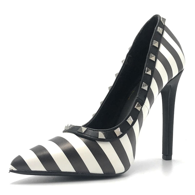 Olivia Jaymes Melany Black-White Color Heels Shoes for Women