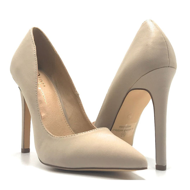 Olivia Jaymes Mila Taupe Lycra Color Pumps Shoes for Women