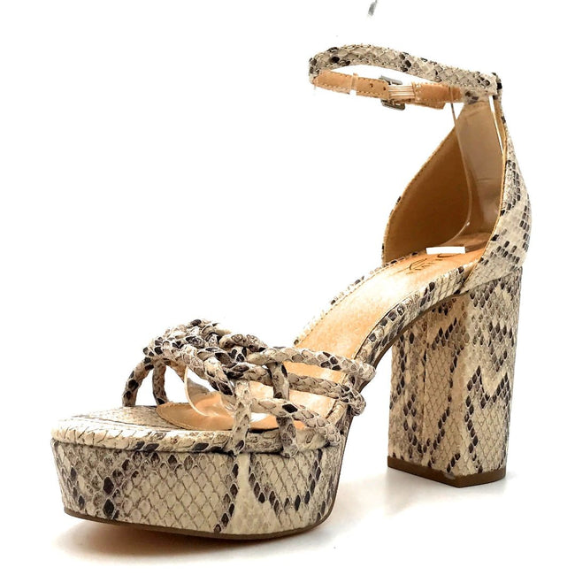 Olivia Jaymes Oprah Brown Snake Fabric Color Heels Left Side view, Women Shoes