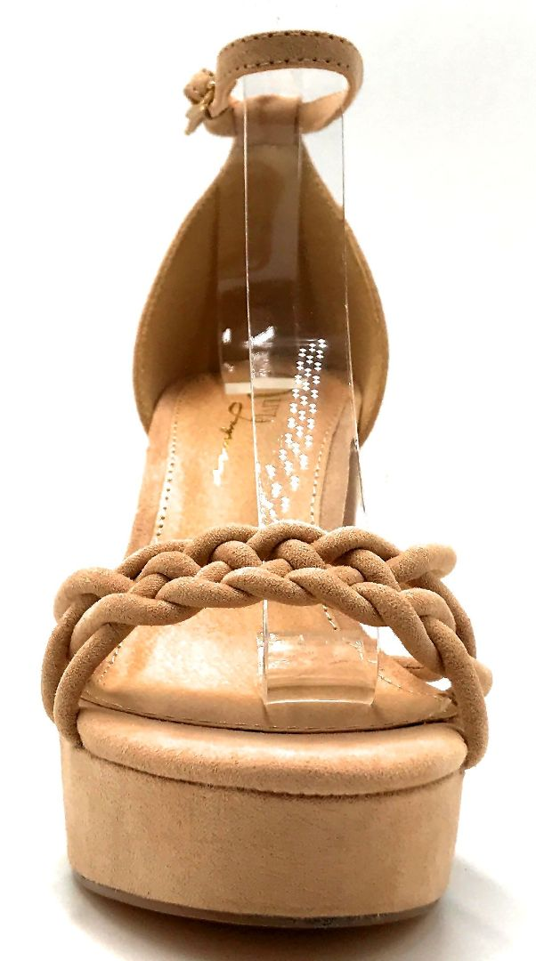 Olivia Jaymes Oprah Camel Suede Color Heels Front View, Women Shoes