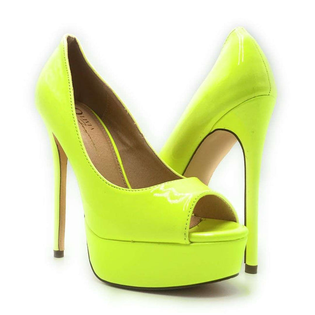 Olivia Jaymes Pearl N.Yellow Pat Color Heels Shoes for Women