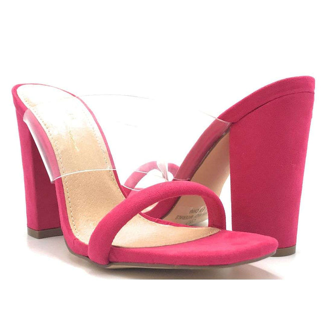 Olivia Jaymes Richie Fuchsia Suede Color Heels Shoes for Women