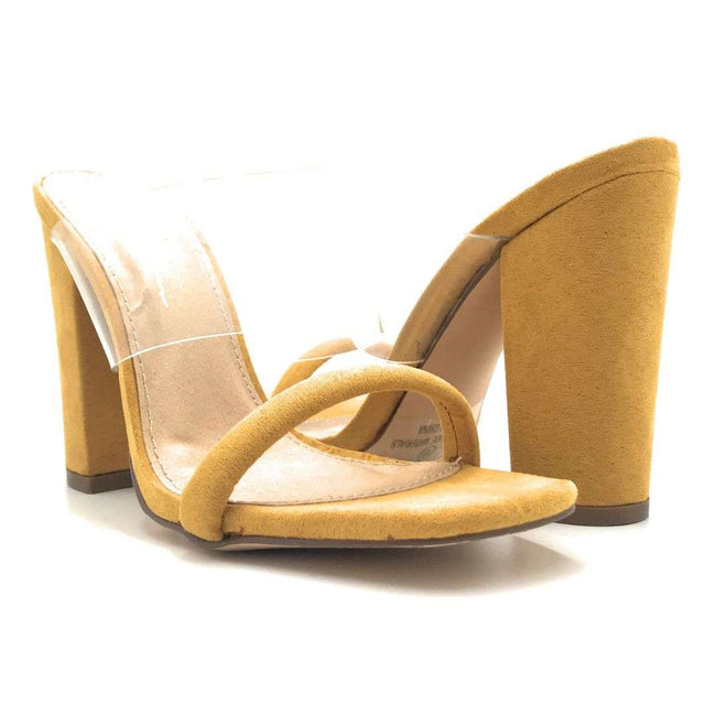 Olivia Jaymes Richie Mustard Suede Color Heels Shoes for Women