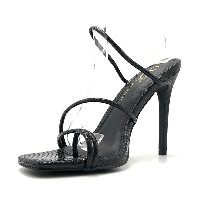 Olivia Jaymes Single Black Snake PU Color Heels Left Side view, Women Shoes