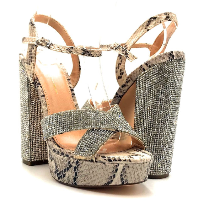 Olivia Jaymes Sonny Brown snake fabric Color Heels Shoes for Women