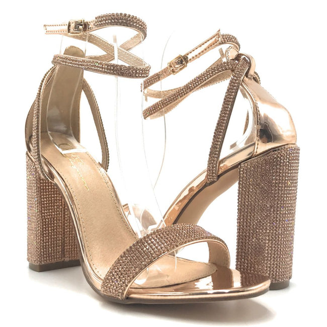 Olivia Jaymes Stamp R.Gold Color Heels Shoes for Women