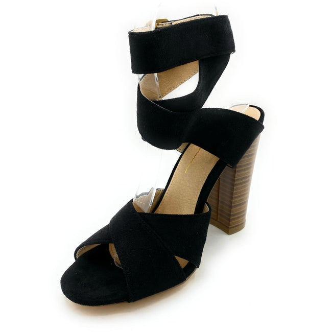 Olivia Jaymes Starla Black Suede Color Heels Shoes for Women