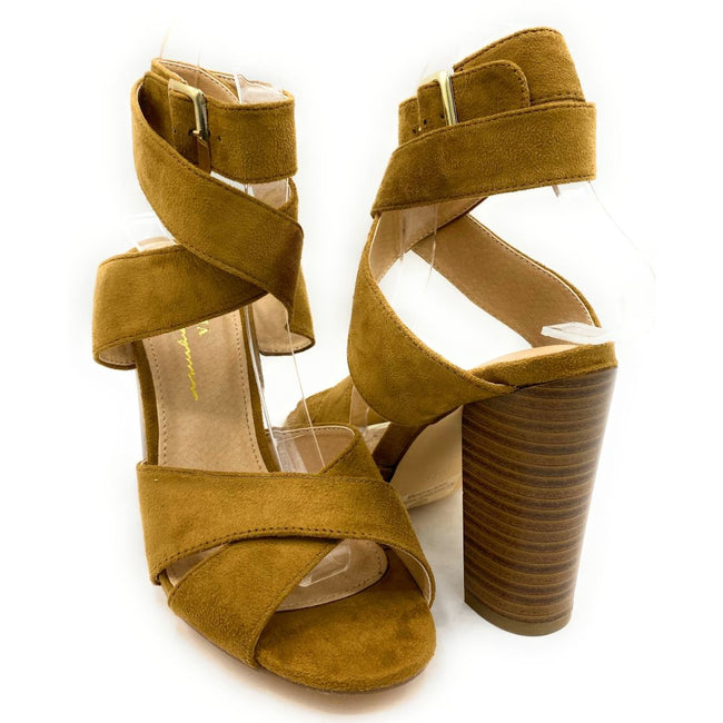 Olivia Jaymes Starla Chestnut Suede Color Heels Shoes for Women