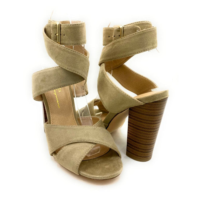 Olivia Jaymes Starla Taupe Suede Color Heels Shoes for Women