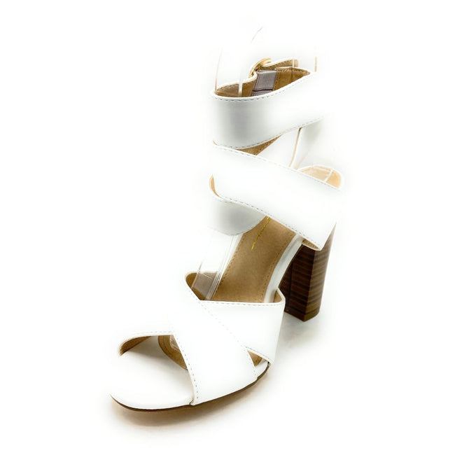 Olivia Jaymes Starla White PU Color Heels Shoes for Women