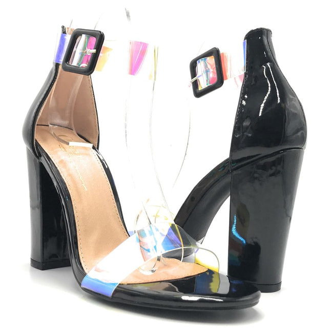 Olivia Jaymes Suri Black patent PU TPU Color Heels Shoes for Women