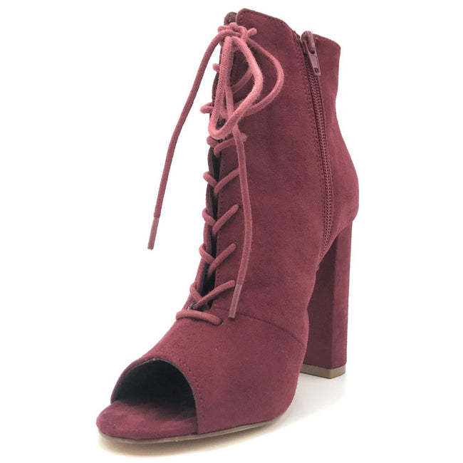 Olivia Jaymes Sway Wine Suede Color Heels Shoes for Women
