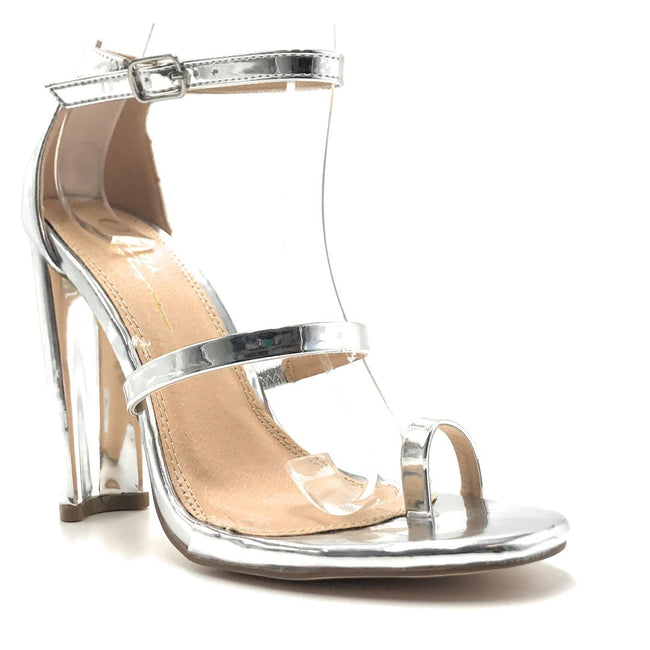 Olivia Jaymes Tahiti Silver Color Heels Shoes for Women