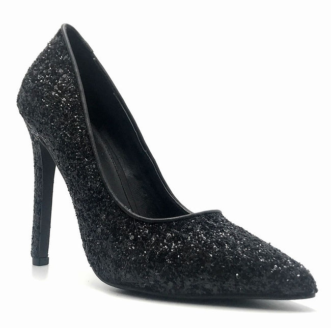 Olivia Jaymes Tinsel Black Coarse Glitter Color Pumps Right Side View, Women Shoes