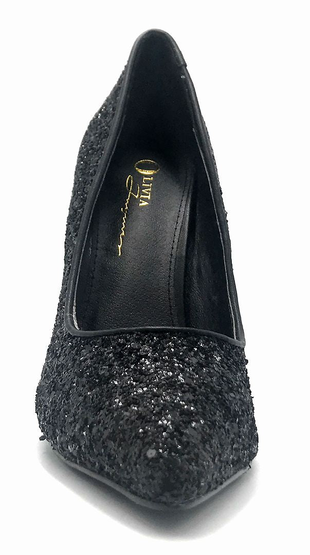 Olivia Jaymes Tinsel Black Coarse Glitter Color Pumps Front View, Women Shoes