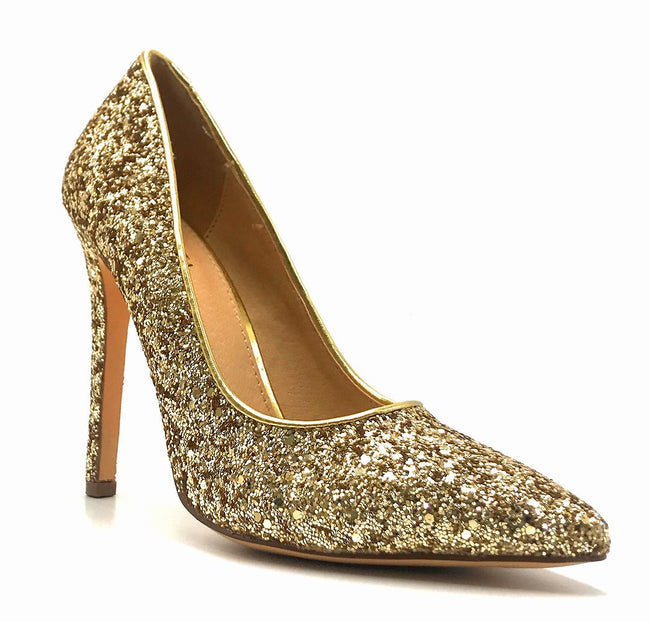 Olivia Jaymes Tinsel Gold Coarse Glitter Color Pumps Right Side View, Women Shoes