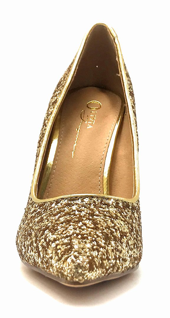 Olivia Jaymes Tinsel Gold Coarse Glitter Color Pumps Front View, Women Shoes