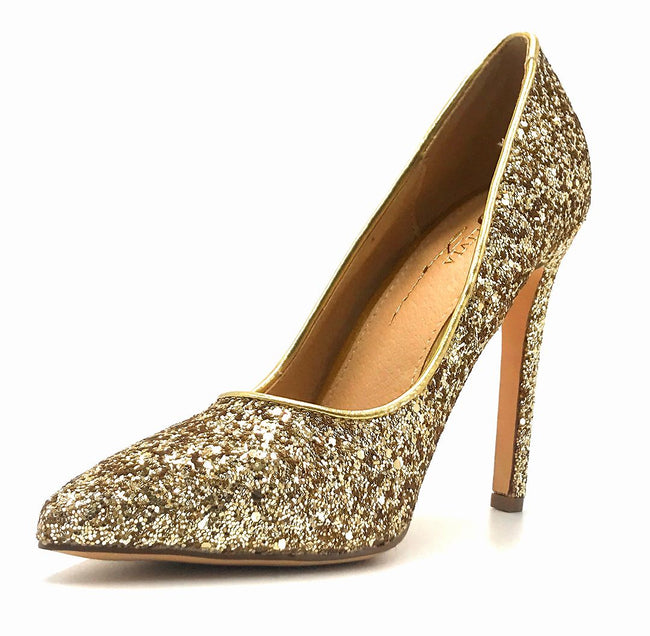 Olivia Jaymes Tinsel Gold Coarse Glitter Color Pumps Left Side view, Women Shoes