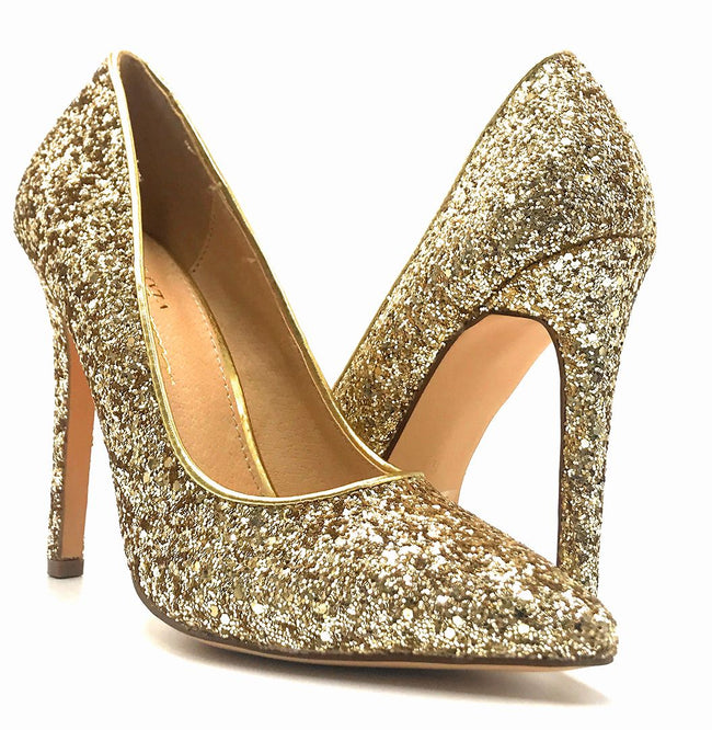Olivia Jaymes Tinsel Gold Coarse Glitter Color Pumps Both Shoes together, Women Shoes