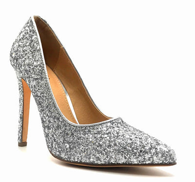 Olivia Jaymes Tinsel Silver Coarse Glitter Color Pumps Right Side View, Women Shoes