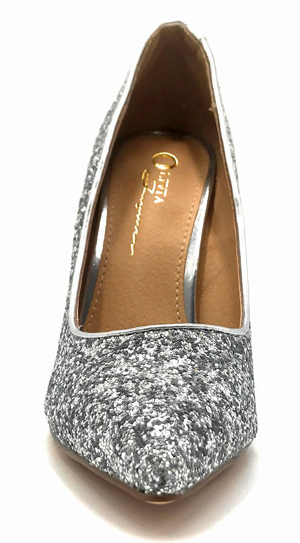 Olivia Jaymes Tinsel Silver Coarse Glitter Color Pumps Front View, Women Shoes
