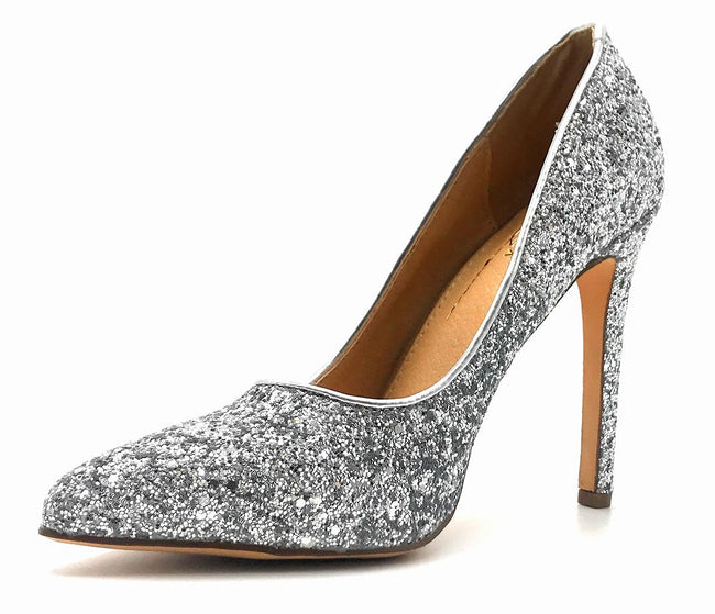 Olivia Jaymes Tinsel Silver Coarse Glitter Color Pumps Left Side view, Women Shoes