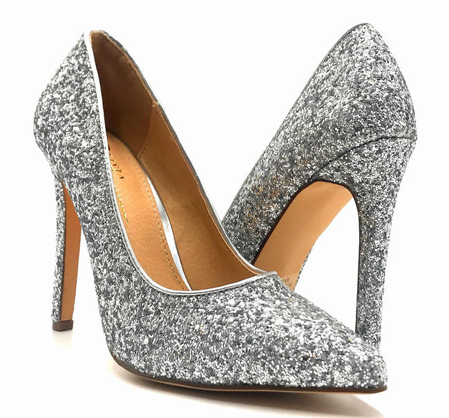 Olivia Jaymes Tinsel Silver Coarse Glitter Color Pumps Both Shoes together, Women Shoes