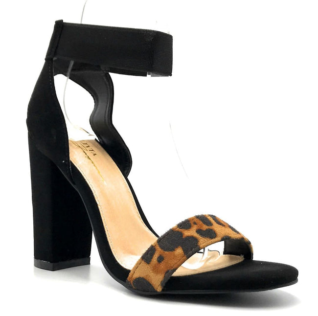 Olivia Jaymes Torrey Leopard Suede Color Heels Right Side View, Women Shoes
