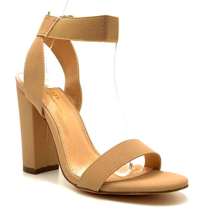 Olivia Jaymes Torrey Nude Nubuck PU Color Heels Right Side View, Women Shoes