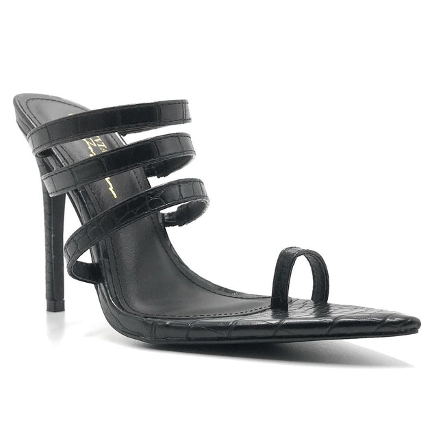 Olivia Jaymes Toxic Black Croc Color Heels Shoes for Women