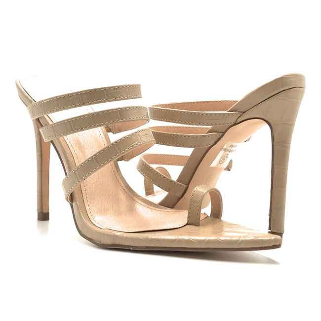 Olivia Jaymes Toxic Nude Croc Color Heels Shoes for Women