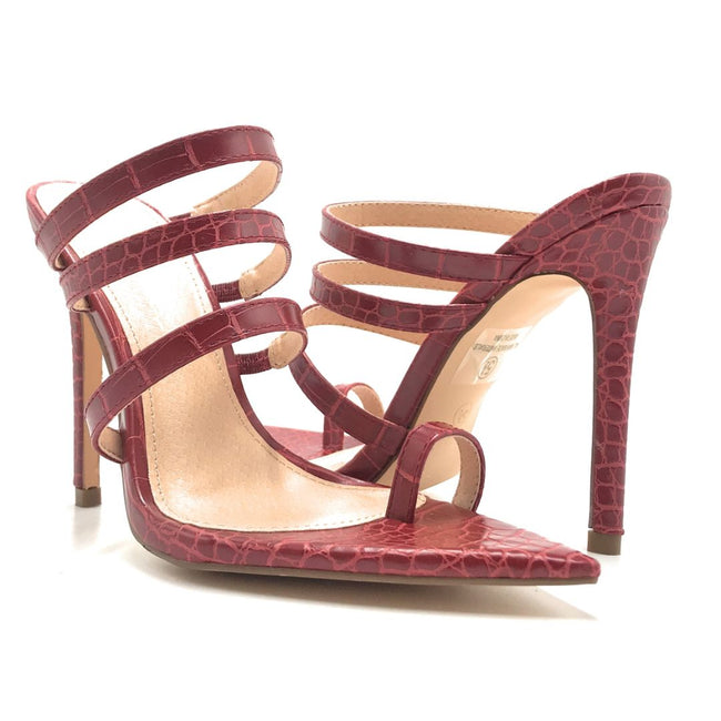 Olivia Jaymes Toxic Red Croc Color Heels Shoes for Women