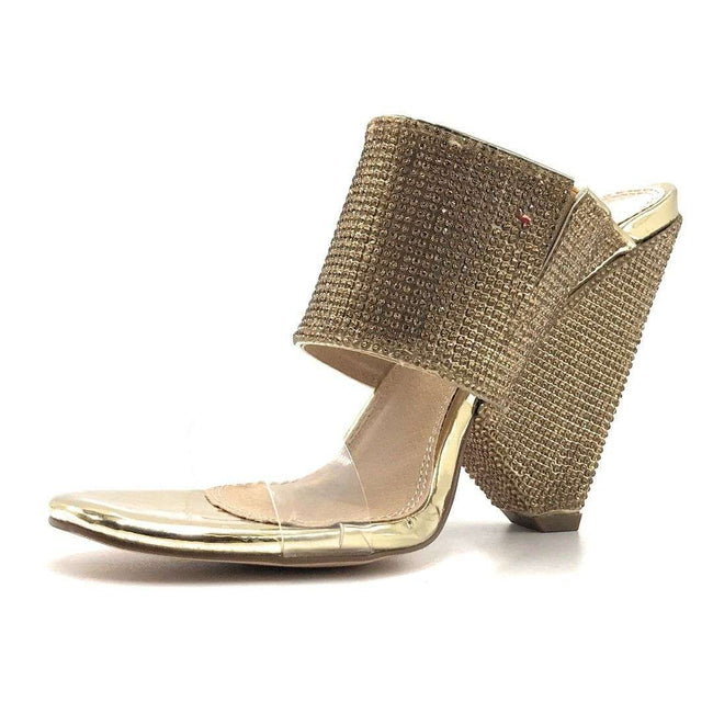 Olivia Jaymes Vera Gold Pat Color Heels Shoes for Women