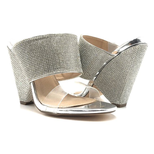 Olivia Jaymes Vera Silver Pat Color Heels Shoes for Women
