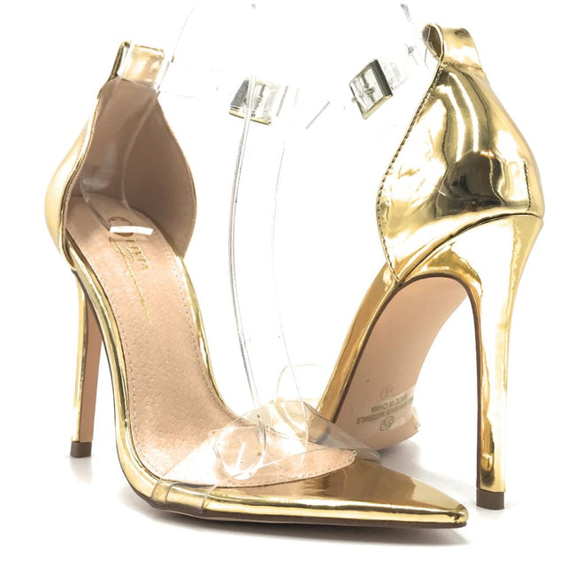 Olivia Jaymes Vivian Gold patent pu TPU Color Heels Shoes for Women