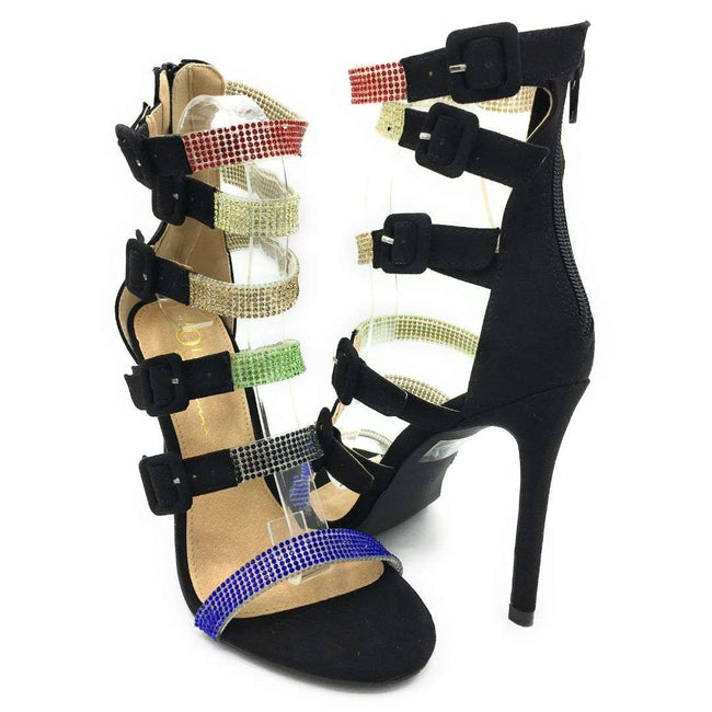 Olivia Jaymes Yolanda Black Multi Suede Color Heels Shoes for Women