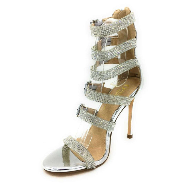 Olivia Jaymes Yolanda Silver Patent Color Heels Shoes for Women