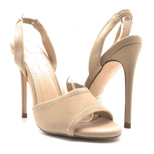 Olivia Jaymes Yuki Taupe Lycra Color Heels Shoes for Women
