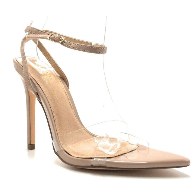 Olivia Jaymes Yuri Taupe Pat Color Heels Shoes for Women