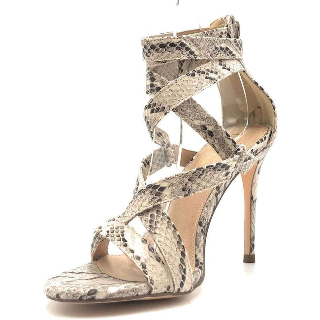 Olivia Jaymes Zion Brown Snake Color Heels Shoes for Women