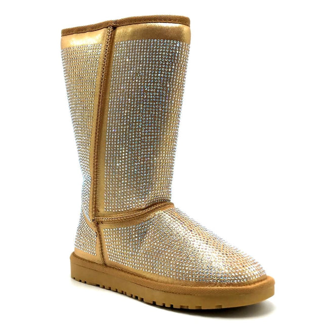 Pazzle Angel Gold Color Boots Right Side View, Women Shoes